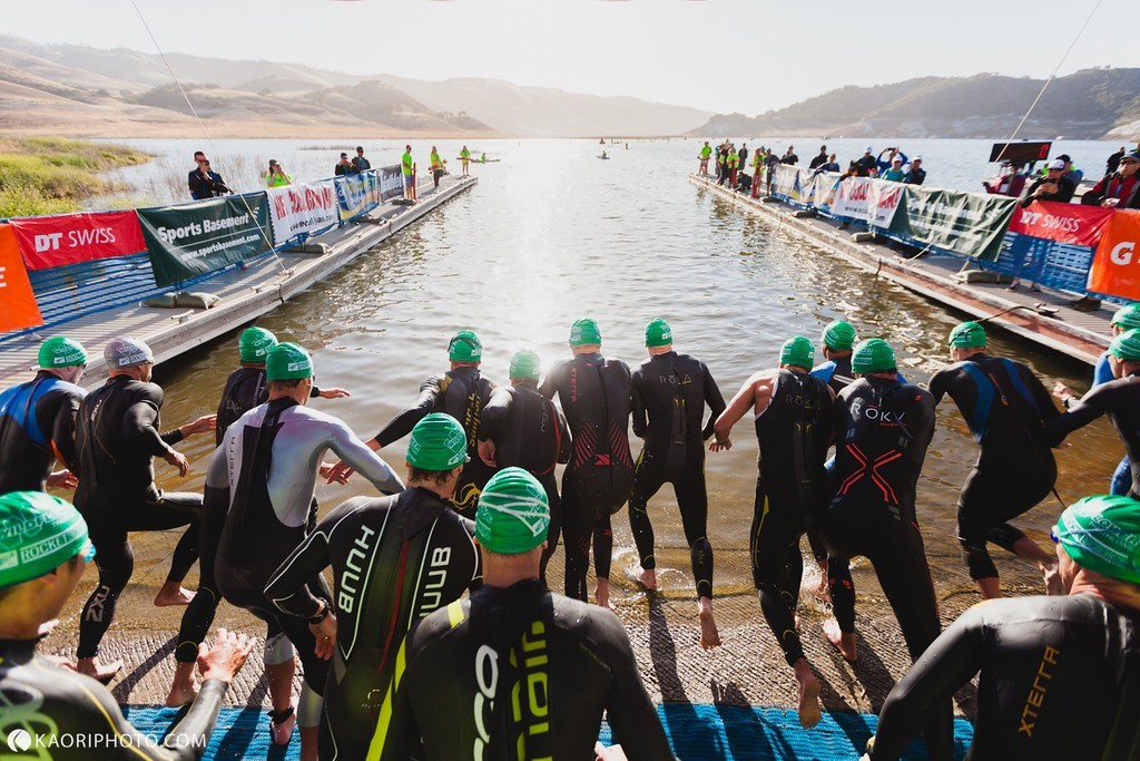 Swim Start, chaos as usual! I'm near the centre, with my Nineteen Wetsuits' tiger stripes. Photo: Kaori Photography